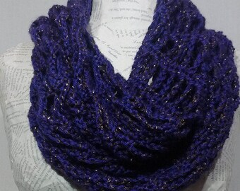 Crochet infinity scarf/purple infinity scarf/dark purple/crocheted/sparkly/metallic infinity scarf/handmade/womens/gift for her