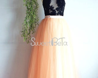 Peach long tutu tulle skirt,women tutu tulle skirt, bridemaid skirt, party skirt
