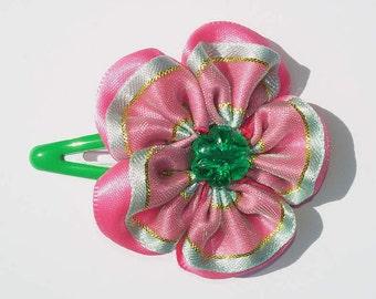 Rosa Green Flower Hair Clip (1 Pair)