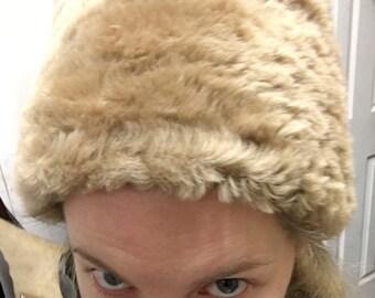 100% genuine tan sheepskin hat