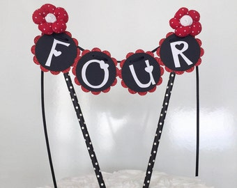 Ladybug Cake Bunting, Cake Topper, Cake Banner, Birthday, Party Decor, Red, Black,