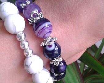 Bracelets with purple agate, Howlite white and silver 925, set of 2 NaturalesOferta stone bracelets from YaroslavaArt handmade jewelry