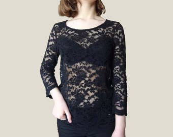 Black Lace Top, Vintage lace top, see through black lace blouse, vinage black lace, see through lace top, long sleeve lace top XS S M size