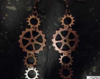 Steampunk earrings with double gears in steam style copper/bronze optics (Fischohr hook)