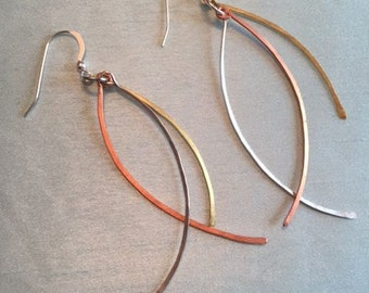 Swingy sterling silver, brass and copper earrings