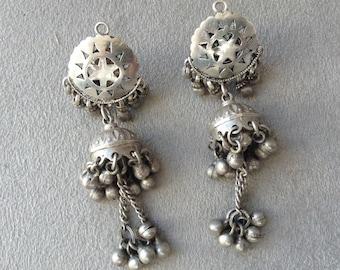 Vintage Silver Earrings, Tribal Earrings, India Jewelry, Rajasthan, Tribal Silver, Jhumkas, Ethnic Jewelry, Old Silver, Bohemian Jewelry