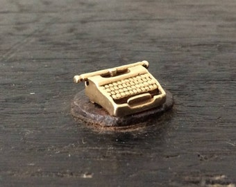 Solid 10K Gold Typewritter Charm / Bracelet / Office / Author / Writer / Journalist