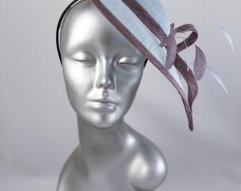 Hat bibi headdress of blue sky/grey ceremony