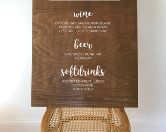 Customised bar menu wooden wedding sign - large // 80cm x 60cm // rustic wedding // wedding decor // wedding signs // wood signs // menu