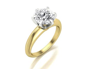 2 Carat Round Moissanite Engagement Ring - Forever One Round Moissanite Engagement Ring - Charles & Colvard Round Moissanite Solitaire Ring