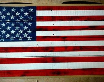 Rustic American Pallet Wood Flag, Reclaimed Wood