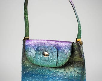 Iridescent Ostrich Leather Handbag, GlamCycled Vintage Cesare Piccini Hand Painted Purse