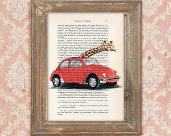 Giraffe painting, Giraffes in car, Giraffe print, Giraffe artwork, Giraffe art, vintage paper art, kids room decor, engagement print