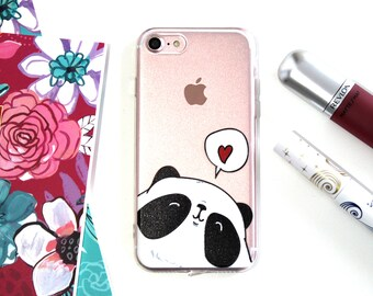 iPhone 7 Soft Silicone Happy Heart Panda Cell Phone Case, Happy Panda iPhone 7 Case, Birthday Gift For Sister, Gifts Under 20 For Her