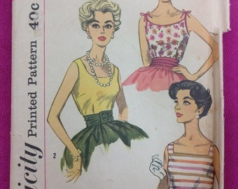 Simplicity 3021 - Size 12 Bust 32 - Vintage Womens Blouse Pattern - 1950s Sewing