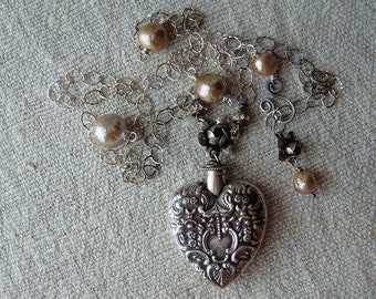 Victorian Style Sterling Heart Chatelaine Perfume Bottle Pendant Necklace Pearls Sweetheart Love Token Edwardian Assemblage