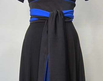 Black Dress - with Sleeves and Wrap Belt Sash in Two Colors Bi color two tone #artisan #craft #sewing #whomademyclothes venmo