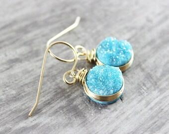 Sky Blue Druzy Earrings, Druzy Gemstone Earrings, Light Blue Drusy Earrings, Wire Wrap Earrings, Gold Dangle Earring, Geode Earrings