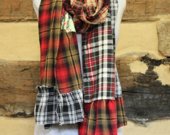 Boho Chic Upcycled Flannel Scarf with Pockets Hippie Clothes Tattered Scarf Neck Wrap Scarves Tartan Plaid Fall WInter Fashion