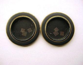 Vintage Japanese Door Pull - Vintage Door Pulls - Japanese Fusma - Traditional Japanese - Door Handles Black And Gold - Silver Set AB