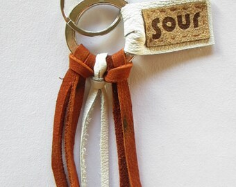Into The Wind // Brown and White Recycled Leather Key Chain with key ring.