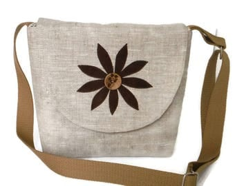 FLOWER Applique - Pure Linen Crossbody Satchel - Handmade Faux Suede Applique - Engraved Coconut Buttons - Vegan Bag