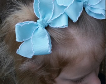 4 Inch Bows - Light Blue Hair Bows - Double Loop Bows with Tails - Spring Pigtail Barrette Set - Crochet Edge Ribbon - Pastel Hair Clip Set