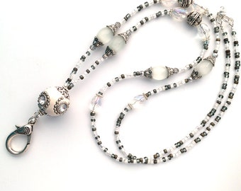 White and Silver Indonesia Bead Lanyard - ID Badge Holder, ID Necklace