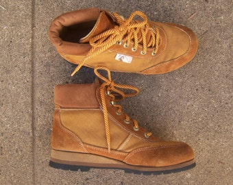 70s hiking boots / caramel brown leather suede, Vibram sole, Rocky Boots, LIKE NEW, women's 7.5 / men's 6