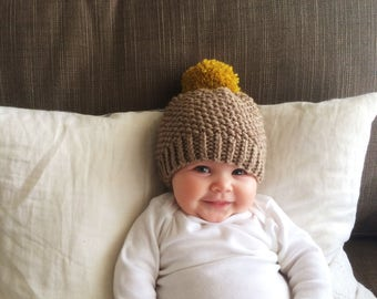 Knit Baby Pom Pom Hat | Brown and Yellow Knit Hat | Baby Boy | Baby Girl