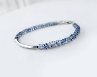 Iolite Bracelet: Sterling silver and naural iolite, gemstone jewelry, denim blue, rondelle beads, silver tube, 4mm wide, 7 inches long