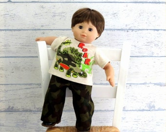 Boy Doll Clothes Dinosaur Tee Shirt and Camo Pants, 15 inch Doll Clothes