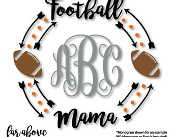 Football Mama Monogram Wreath with Arrows (monogram NOT included) - SVG, DXF, png, jpg digital cut file for Silhouette or Cricut