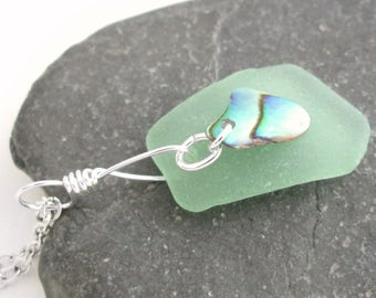 Mint Green Sea Glass Pendant, Natural Abalone Shell Jewelry, Beach Theme Gift