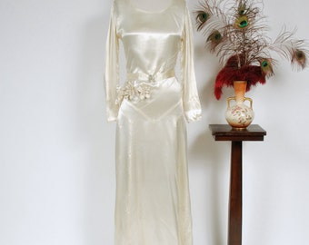 Vintage 1930s Wedding Dress - Gleaming Ivory Rayon Satin Art Deco Seamed Early 30s Bridal Gown with Floral Corsage