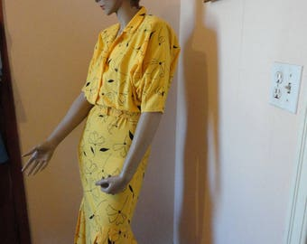 1980's Yellow/Black Batwing Summer Dress Sz 9