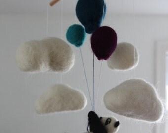 Panda Bear Cloud Balloon Mobile Nursery Mobile Decoration Wall Hanging Art Sculpture Green Teal White