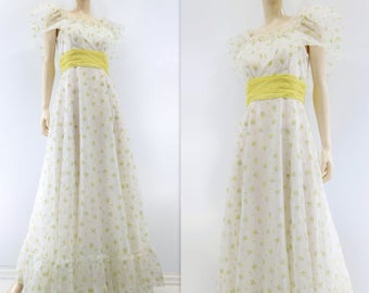sale Boho Maxi Dress 70s Peasant Dress Floral Maxi Dress Yellow Floral Dress Vintage Ruffle Dress Off Shoulder Dress Off Shoulder Wedding xs