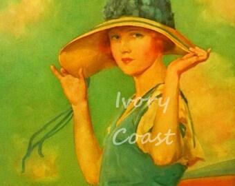 Seaside Hat Vintage Illustration. Digital, download, green, blue, yellow, woman, lady, image, beach, ocean, sea, nouveau, deco, 14/p2