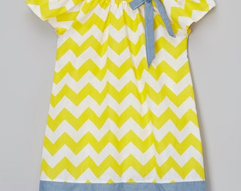 yellon chevron peasant little girls dress
