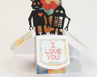 Robot Love Pop Up Greeting Card - Valentine Pop Up Card - Happy Birthday Robot Card - Save The Date Robot Card - Happy Anniversary