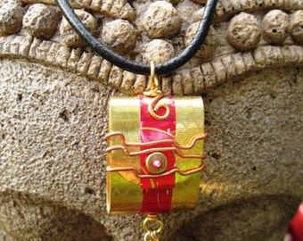 Tibetan inspired brass prayer pendant  with recycled red  tin word - Peace