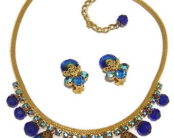 VTG Juliana D and E cobalt blue glass Necklace & Earrings Goldtone Mesh Gorgeous!