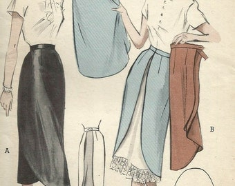 Vintage 40s Butterick 5392 FF Double Apron Skirt Sewing Pattern Size Waist 26 Hip 35