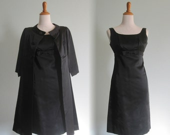Gorgeous 50s Black Satin Cocktail Dress and Coat - Vintage Satin Dress and Satin Coat - Vintage 1950s Dress with Matching Coat S M