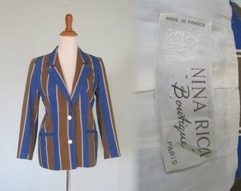 Chic 70s Nina Ricci Striped Cotton Jacket - Vintage Roaring 20s Style Striped Blazer - Vintage 1970s Jacket M