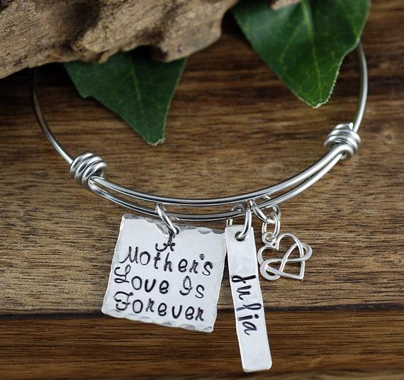 A Mother's Love is Forever Bangle Bracelet, Mother's Bracelet, Mom Charm Bracelet, Mothers Day GIft, Name Bracelet, Gift for Mom