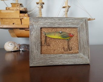 Framed Vintage Fishing Lure, Cabin or Beach House Decor, Fishing Tackle, Treble Hook