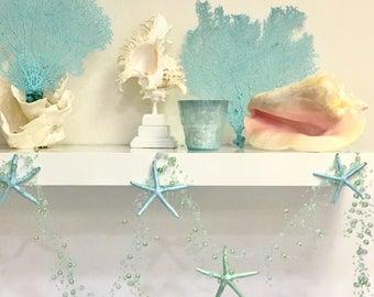 Starfish Garland  - Natural Starfish Painted Mint or Blue - Star fish Beach Wedding Decor