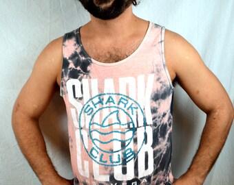 Vintage 80s 90s Shark Club Tie Dye Tank Top Shirt